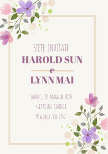 cream purple floral wedding cards Biglietti di ringraziamento per il matrimonio
