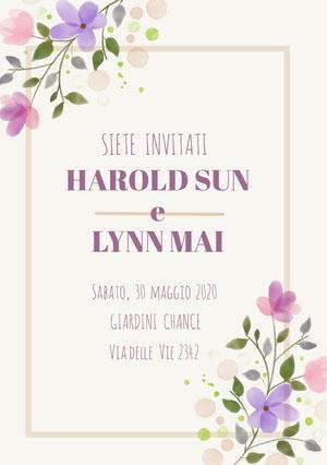 cream purple floral wedding cards Partecipazioni di matrimonio