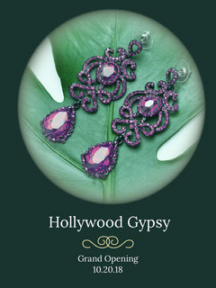 Blue With Violet Earings Hollywood Gypsy Advertisement Grand Opening Flyer