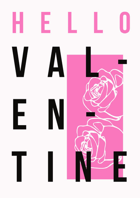 Pink Floral Typography Valentine's Day Card Messages d'amour