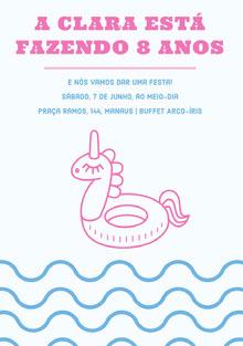 pool party unicorn birthday cards  Cartão de aniversário