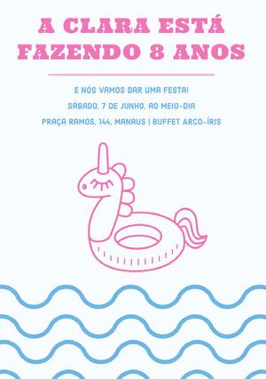 pool party unicorn birthday cards  Convite de aniversário de unicórnio