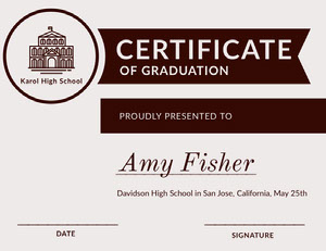 Black and White High School Graduation Certificate Certificat