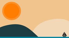 Orange Boat in Sea Vector Illustration Zoom Background  Boats