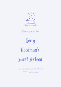 Blue Sweet Sixteen Birthday Invitation Card with Cake Cakes