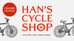 Red Cycle Shop Facebook Banner  Grand Opening Flyer