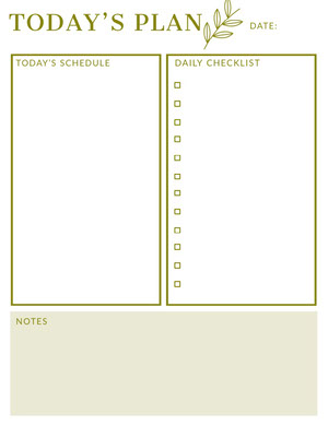 Gold Daily Planner with Schedule and Checklist Planificateur