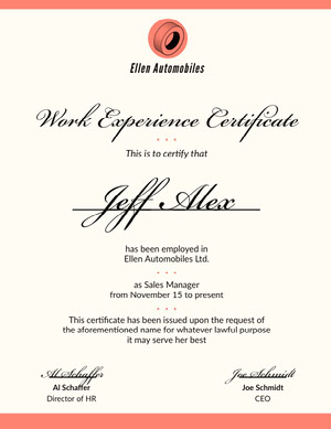 Orange Border Calligraphy Recommendation Letter Work Experience Certificate