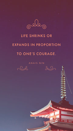 LIFE SHRINKS OR EXPANDS IN PROPORTION TO ONE'S COURAGE. Instagram Story
