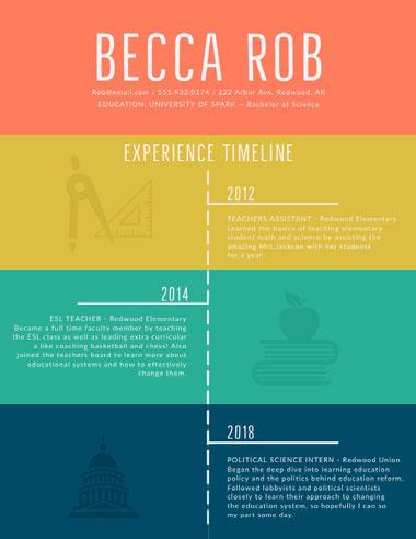 Multicolored Teacher Resume Best Fonts for Your Résumé
