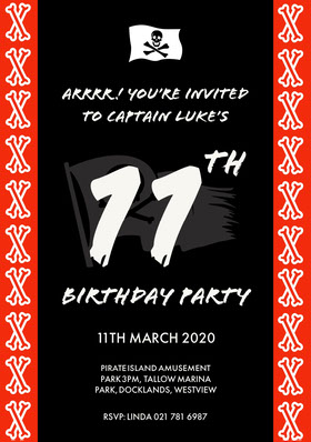Red and Black Pirate Style Birthday Party Invitation Card for Boy Birthday Invitation (Boy)