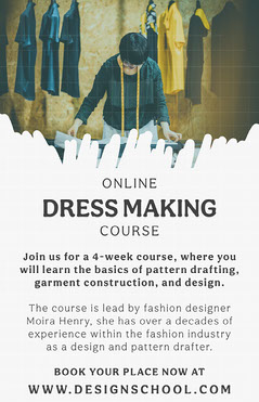 Black and White Online Dressmaking Course Poster Construction