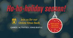 Navy Holiday Season Online Xmas Bash Invite LinkedIn Post Christmas Party