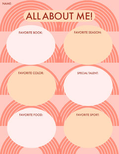 Pink All About Me Worksheet Pattern Design