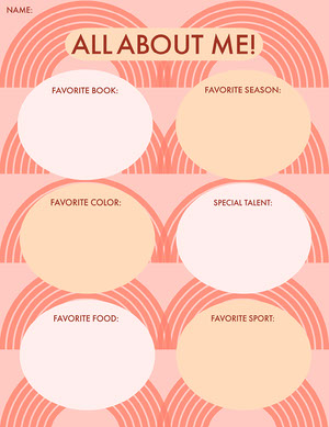 Pink All About Me Worksheet Fiche d'exercices
