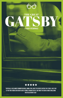 Green, Black and White The Grat Gatsby Book Report Poster Car