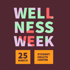 Orange Claret and Colorful Wellness Week Social Post Wellness