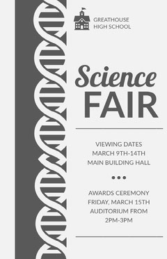 Gray Science Fair School Event Flyer with DNA Illustration Science