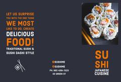Grey, White and Orange Sushi Restaurant Ad, Brochure, Card Restaurants