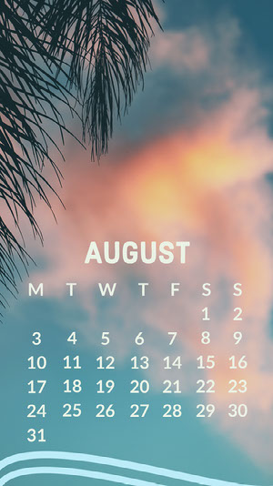 Pink Sky August Calendar iPhone Wallpaper Kalender