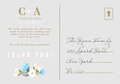White, Blue and Golden Flowers Classical Wedding Thank You Card Couple