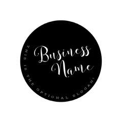 Black and White Business Logo with Circle Black And White
