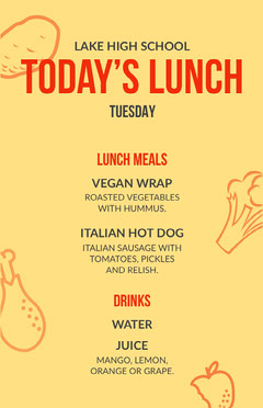 high school lunch menu Back to School