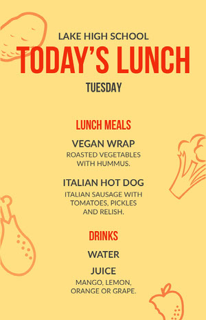 Yellow and Orange High School Lunch Menu Menú