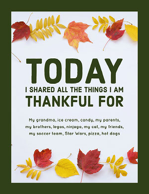 Green and White Thankful List Document Instagram Story tarjeta de Acción de Gracias
