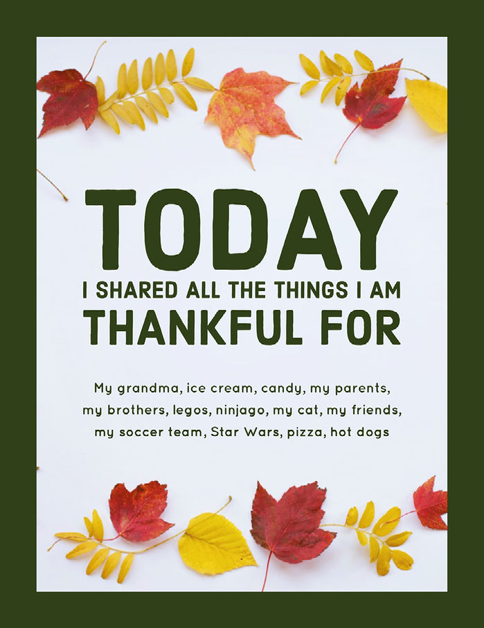 Green and White Thankful List Document Instagram Story Happy Thanksgiving Card Messages