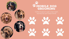 Peach Mobile Dog Grooming Loyalty Card  Service