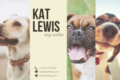 White and Three Dogs Business Card  Dog Walker Flyer