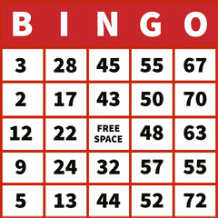 Red Bingo Card with Numbers Red