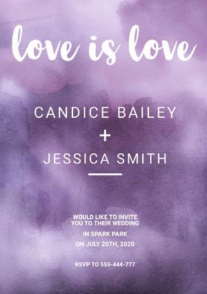 Purple and White Wedding Invitation Card Hochzeitseinladung