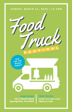 Green and White Food Truck Festival Flyer Food Truck