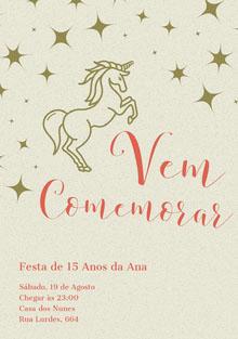 gold stars unicorn birthday cards  Cartão de aniversário
