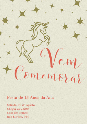 gold stars unicorn birthday cards  Convite de aniversário de unicórnio