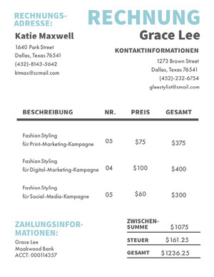 fashion styling campaign invoice  Rechnung