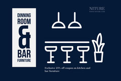 Navy Blue and White Dinning Room Flyer Furniture Sale