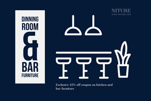 Navy Blue and White Dinning Room Flyer Kupon
