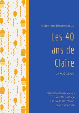 Les 40 <BR>ans de<BR>Claire Invitation d'anniversaire