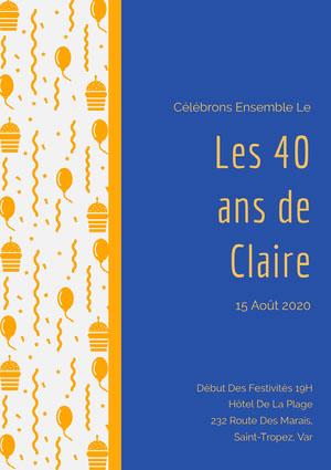 Les 40 <BR>ans de<BR>Claire Invitation à une fête