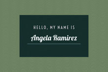 Green and White Name Tag Tarjetas