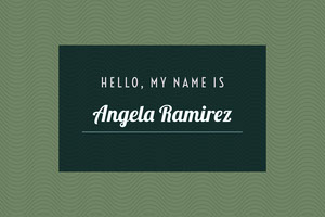 Green and White Name Tag Etichetta nome
