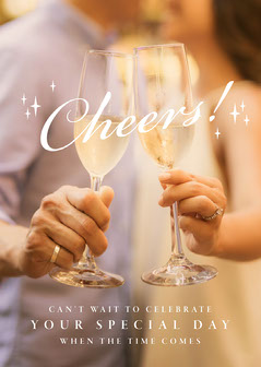 Champagne Cheers Photo Wedding Congratulations Card Celebration