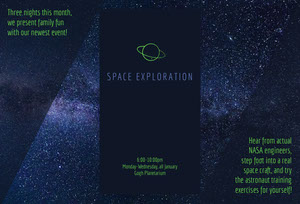 Green and Dark Blue Planeterium Brochure with Night Sky Broschüre