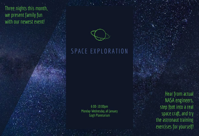 Green and Dark Blue Planeterium Brochure with Night Sky Idées de brochures