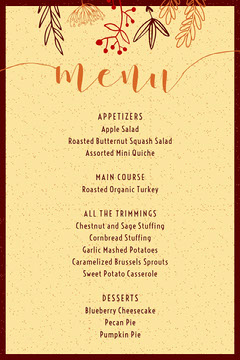 gather foliage thanksgiving menu Thanksgiving Menu