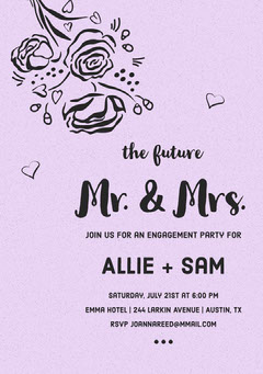 Pink Floral Engagement Party Invitation Card Couple