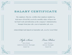 Blue Decorative Frame Salary Certificate  Frame